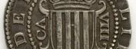 Real de a ocho de Felipe II de Aragón y III de España, anverso. Plata. Zaragoza, 1611. Inv. 54256.