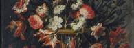 Canastilla de Flores. Óleo sobre lienzo. Juan de Arellano. Barroco. Hacia 1665-1670. Inv. 10253. Depósito de la Real Academia de NN. y BB. Artes de San Luis