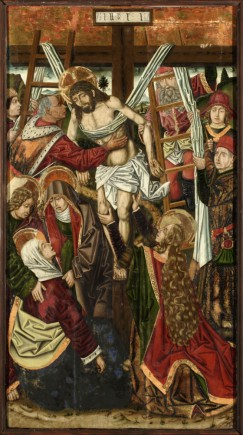 Descendimiento. Retablo de la Santa Cruz.  Miguel Jiménez y  Martín Bernat. Gótico Hispanoflamenco. Hacia 1481-1487. Iglesia de Blesa (Teruel).  Foto: José Garrido. MdZ.