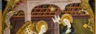 Anunciación. Retablo de la Resurrección del Santo Sepulcro. Temple sobre tabla. Jaime Serra. Gótico. Hacia 1361-62. Monasterio del Santo Sepulcro. Inv. 10009.