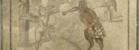 Mosaico, mito de Eros y Pan. Piedra caliza. 190-220. Colonia Caesar Augusta (Zaragoza). Inv. 07585.