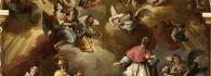 San Valero, San Vicente Mártir, San Pedro Arbués y Santo Dominguito de Val en la Gloria. Óleo sobre lienzo. José Luzán Martínez. 1757. Inv. 54386. Depósito Felix Palacios.