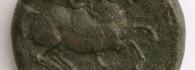As de Sekaisa (Mara, Zaragoza), reverso. Bronce. Cultura celtibérica. 170-153 a.C. Inv. 53024.