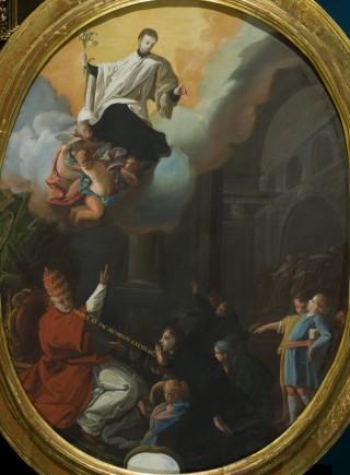 Consagración de San Luis Gonzaga como patrono de la Juventud. Óleo sobre lienzo, Francisco de Goya y Lucientes. 1863. Inv. 50558. Depósito Ayuntamiento de Jaraba.