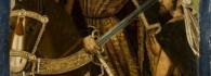 San Martín partiendo su capa con un pobre. Óleo sobre tabla. Miguel Jimenez. Gótico. Hacia 1489-1499. Inv. 10034.