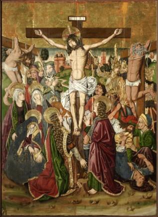 Crucifixión. Retablo de la Santa Cruz.  Miguel Jiménez y  Martín Bernat. Gótico Hispanoflamenco. Hacia 1481-1487. Iglesia de Blesa (Teruel).  Foto: José Garrido. MdZ.