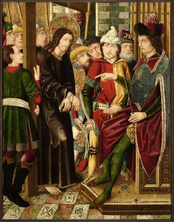 Jesús ante Caifas. Retablo de la Santa Cruz.  Miguel Jiménez y  Martín Bernat. Gótico Hispanoflamenco. Hacia 1481-1487. Iglesia de Blesa (Teruel).  Foto: José Garrido. MdZ.