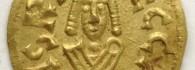 Tremissis de Recaredo. Cesaracosta (Zaragoza), anverso. Oro. Reino visigodo de Toledo. 586-601. Inv. 54252.