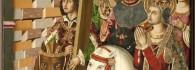 Santa Elena y el emperador Heraclio. Retablo de la Santa Cruz. Óleo sobre tabla. Miguel Jiménez y Martín Bernat. Gótico Hispanoflamenco. Hacia 1481-87. Iglesia de Blesa . Teruel. Inv. 10029.