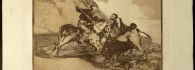 La tauromaquia. Modo con que los antiguos españoles cazaban los toros a caballo en el campo. Estampa. Francisco de Goya y Lucientes. 5ª edición, de 1921. Inv. 15428. Depósito de la Real Academia de NN. y BB. AA. de San Luis