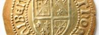 Ducado de Francisco Febo, reverso. Pamplona. Oro. Reino de Navarra. 1479-1483. Inv. 08738.