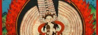 Sitatapatra-Aparajita. Tanka. Pintura caligráfica sobre tela enmarcada. S. XVII. Tibet. Inv. 49015