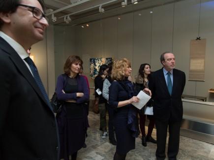 Elena Barlés y David Almazán durante la visita de inauguración (Foto: J. Garrido)