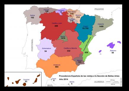 Procedencia visitantes españoles a Sede Central. (Mapa de http://www.d-maps.com/)