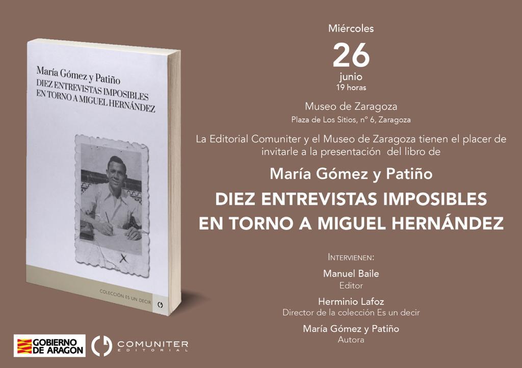 Tarjetón convocatoria presentación libro sobre Miguel Hernández