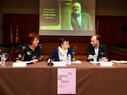 Acto inaugural simposio sobre el gusto V. Concepción Lomba, Blanca Ros y Juan Carlos Lozano. Foto: José Garrido. Museo de Zaragoza.