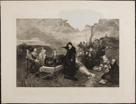 """""""Juana la Loca conduciendo el féretro de su esposo"""", Bartolomé Maura, 1881. Foto: Elisa Santos. Museo de Zaragoza."""
