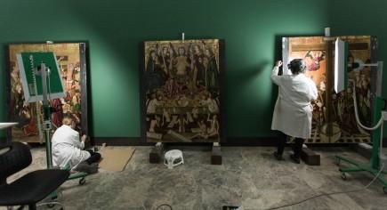 Restauración del retablo de la Santa Cruz de la iglesia de Blesa. Foto: José Garrido. Museo de Zaragoza.