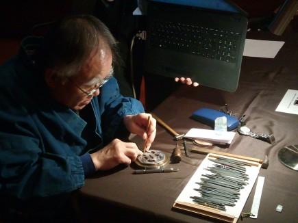 Ôkawa Chikô durante su demostración en el museo. Foto: Difusión Museo de Zaragoza.