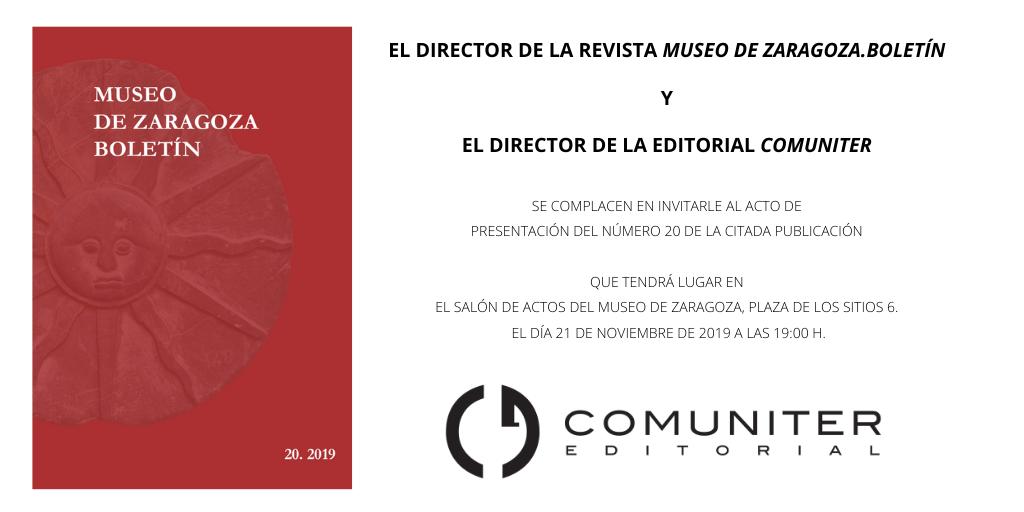 Presentación del nuevo número del Boletín del Museo de Zaragoza @ Museo de Zaragoza. Salón de actos