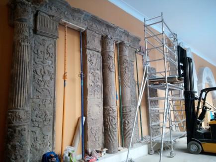 Conjunto formado con los elementos procedentes del patio del palacio de los diputados antes de su desmontaje. Foto: Difusión. Museo de Zaragoza.