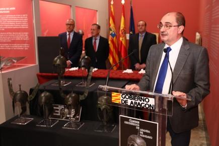 Presentación de los cascos celtibéricos de Aratis en el museo. Foto: Luis Correas. Gobierno de Aragón.