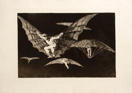 """""""Modo de volar"""", Disparates, 13. Francisco de Goya y Lucientes. Foto: José Garrido. Museo de Zaragoza."""
