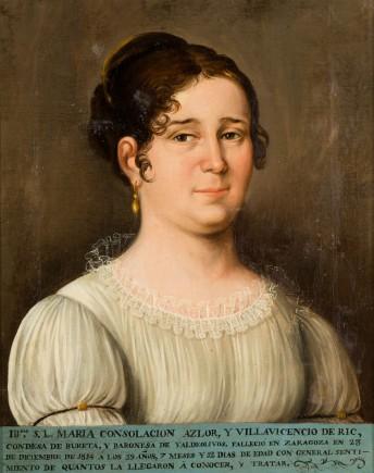 """""""Retrato de Consolación de Azlor, condesa de Bureta"""", anónimo, 1ªm. s. XIX. Foto: José Garrido. Museo de Zaragoza."""