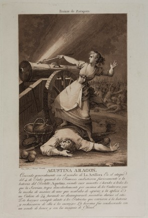 """""""Ruinas de Zaragoza. Agustina de Aragón"""", Fernando Brambila y Juan Gálvez, 1808-1812 (Ed. 2ªm. s. XIX). Foto: José Garrido. Museo de Zaragoza."""