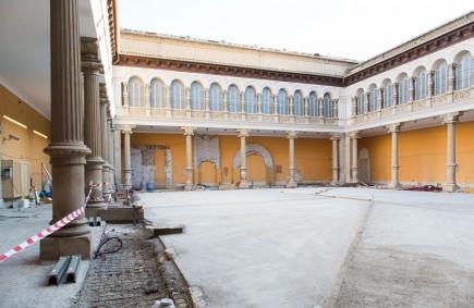 Obras en el patio del museo. Marzo 2020. Foto: José Garrido. Museo de Zaragoza.