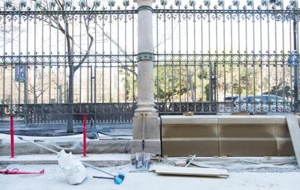 Obras en la zona exterior del museo. Marzo 2020. Foto: José Garrido. Museo de Zaragoza.