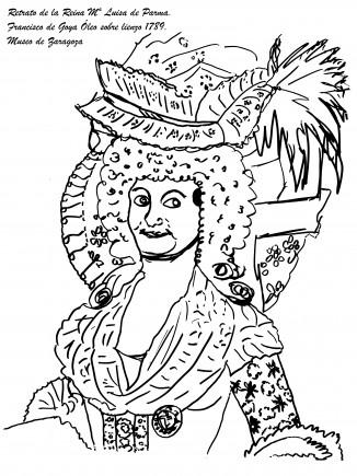 Pintable reina María Luisa. Difusión Museo de Zaragoza.