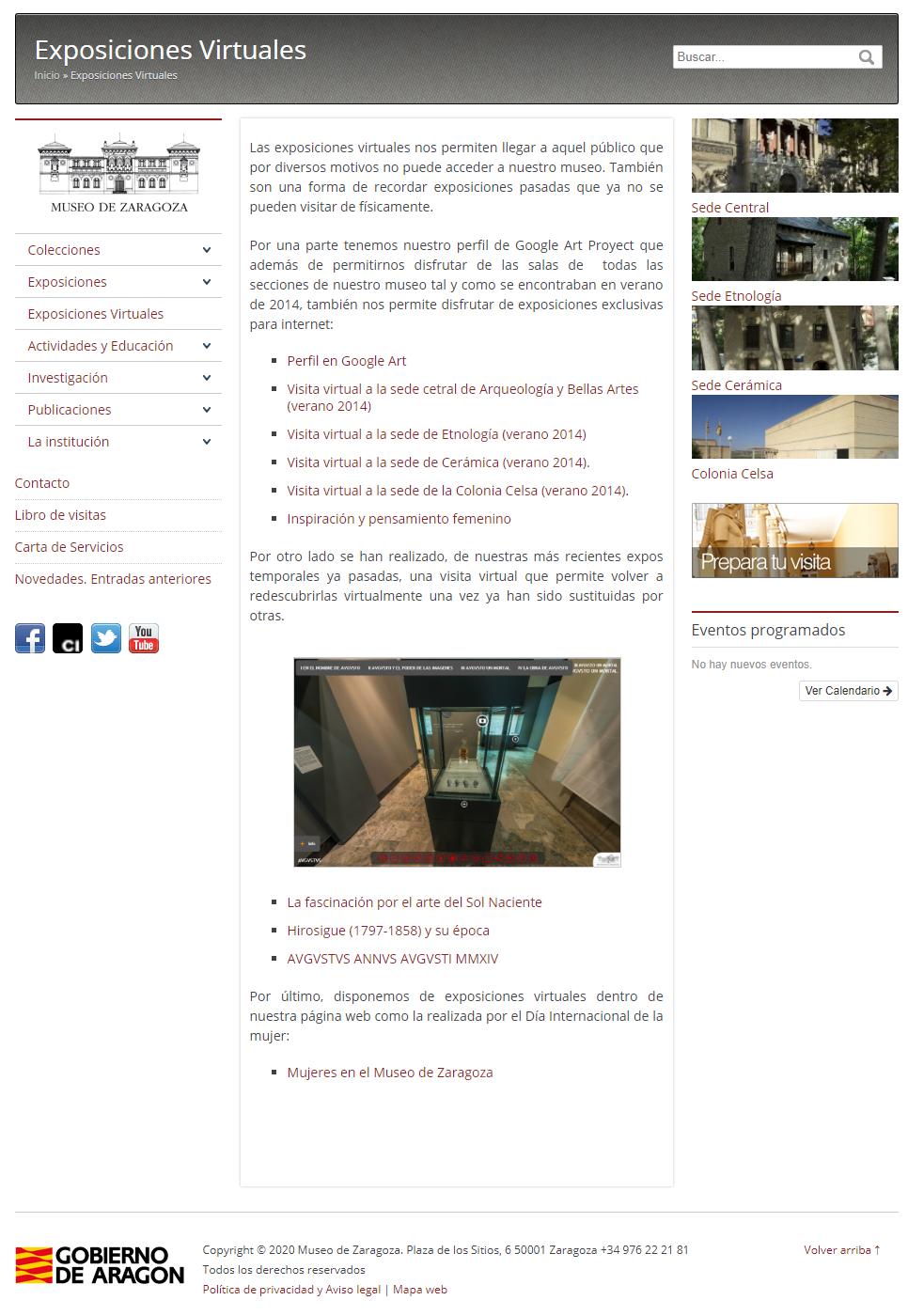 Sección de Exposiciones Virtuales en nuestra web.