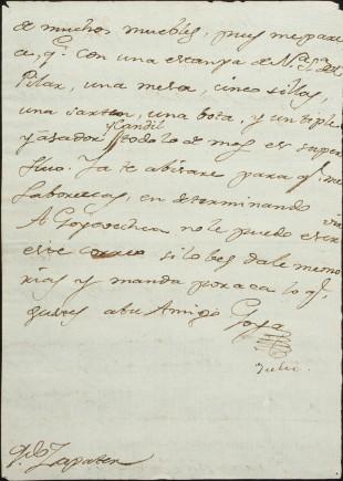 Carta, Francisco de Goya, 1780. Foto:  José Garrido. Museo de Zaragoza.