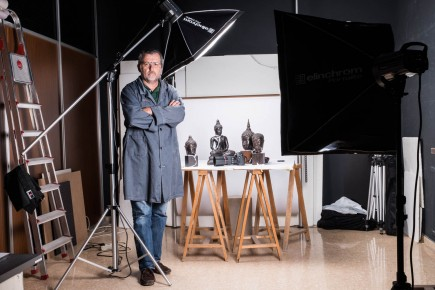 José Garrido en su estudio del museo. Foto: José Garrido. Museo de Zaragoza.