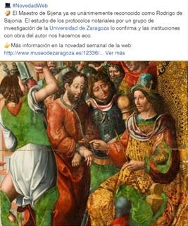 Publicación sobre Rodrigo de Sajonia en Facebook. Museo de Zaragoza.