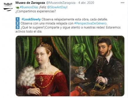 Publicación sobre Slow Art Day en Twitter. Museo de Zaragoza.