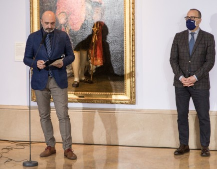 El Director General de Cultura, Víctor Lucea, detalla el programa de actividades junto al Consejero de Educación, Cultura y Deporte del Gobierno de Aragón, Felipe Faci. Foto: José Garrido. Museo de Zaragoza.