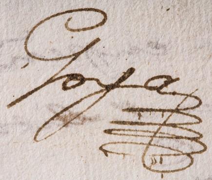 Carta de Francisco de Goya a Martín Zapater (detalle), 1780. Foto: José Garrido. Museo de Zaragoza.