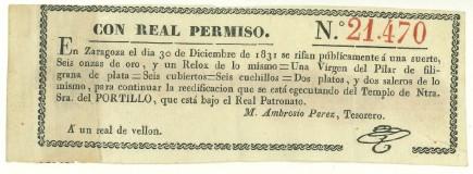 Boleto de lotería de 1831. Foto: Difusión Museo de Zaragoza.