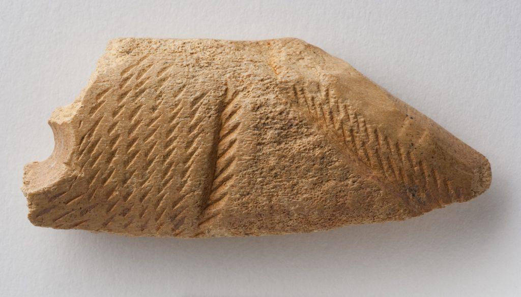 Fragmento de cuerno decorado. Paleolítico superior. 16.500 a.E. Cueva del Gato 2 (Épila, Zaragoza). Inv. 48006.