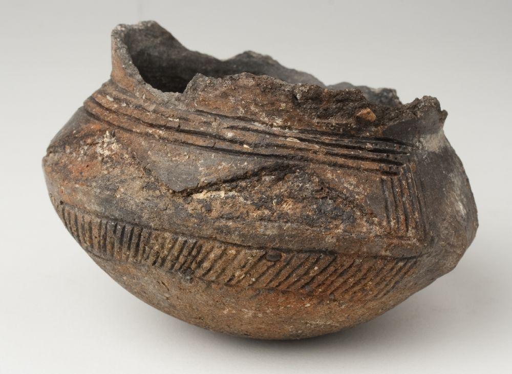 Vasija con decoración excisa. Cerámica. Primera Edad del Hierro. 750-650 a.E. El Morredón (Fréscano, Zaragoza). Inv. 48008.