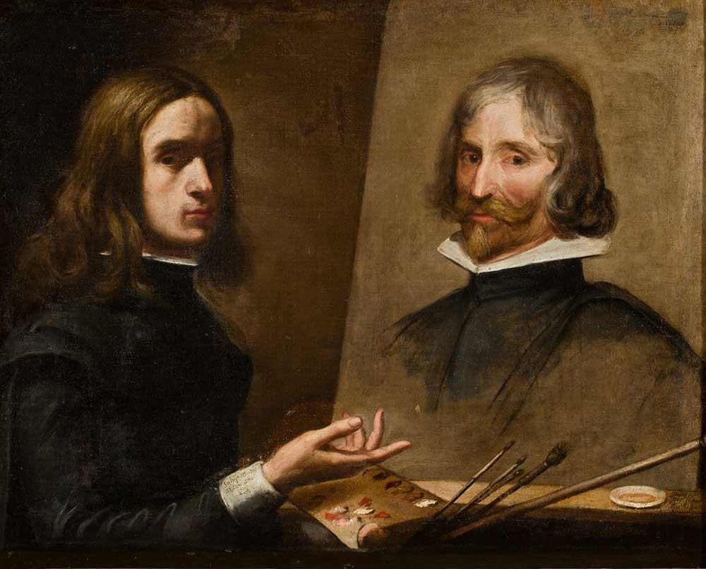 Autorretrato pintando a su padre Daniel Martínez. Jusepe Martínez. Óleo sobre lienzo. Barroco. 1630.