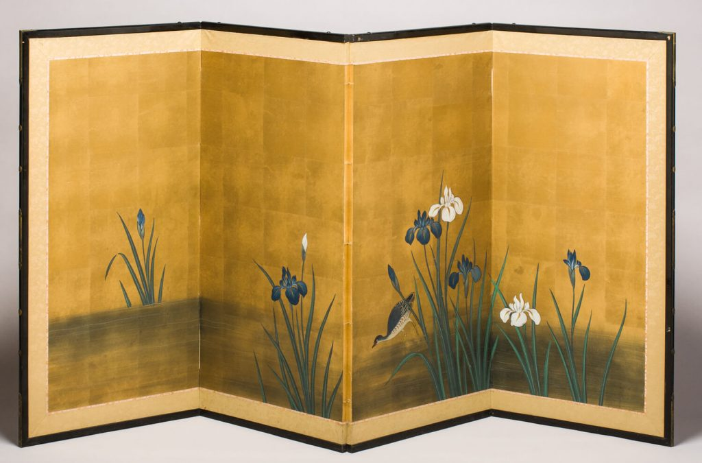 Biombo (byōbu). Pintura sobre papel. Japón. H. 1868-1912.