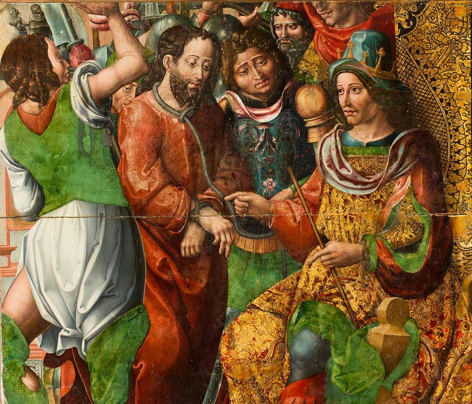 Cristo ante Caifás. Rodrigo de Sajonia. Óleo sobre tabla. Renacimiento. 1515-1519.