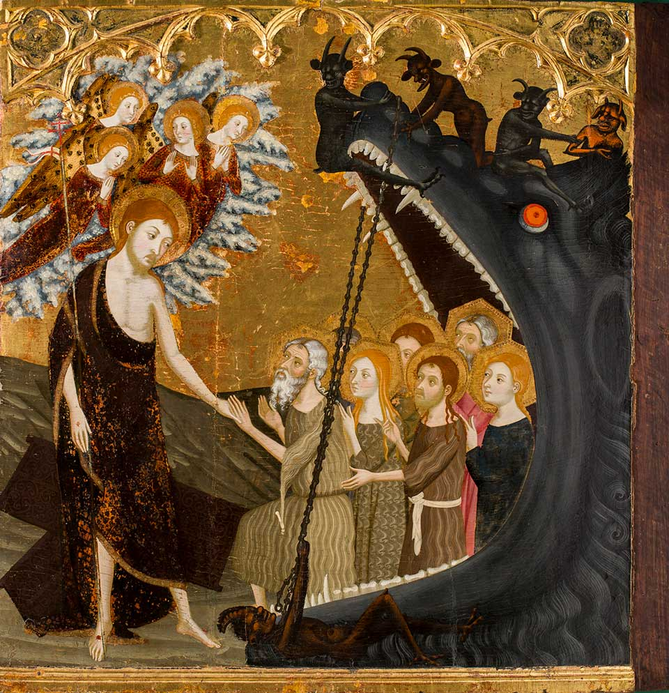 Descenso a los infiernos. Jaime Serra. Temple sobre tabla. Gótico. 1361-1362.