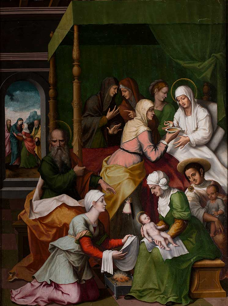 El nacimiento de san Juan Bautista. Jerónimo Vicente Vallejo Cosida. Óleo sobre tabla Renacimiento. 1574-1585.