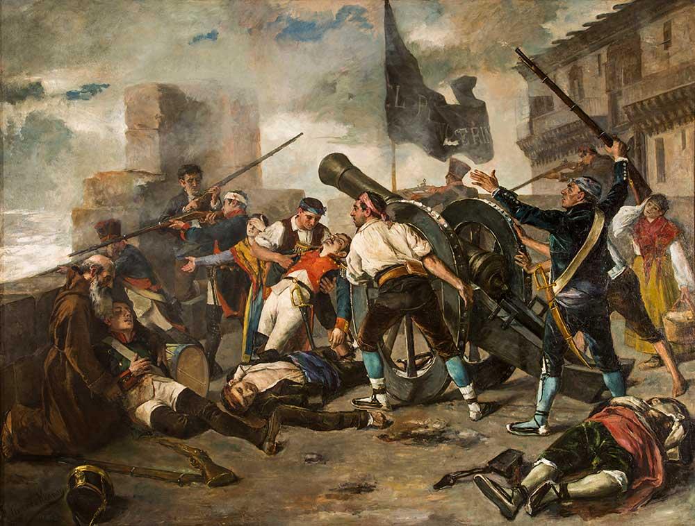 Episodio de la defensa de Zaragoza frente a los franceses. Federico Jiménez Nicanor. Óleo sobre lienzo. 1885.