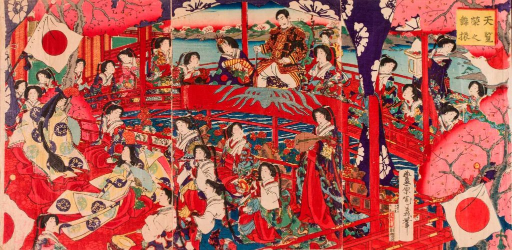 Estampa Actuación de danza para una audiencia imperial. Toyohara Chikayoshi. Escuela Ukiyo-e. Estampa xilográfica nishiki-e. 1879. Colección Pasamar-Onila.