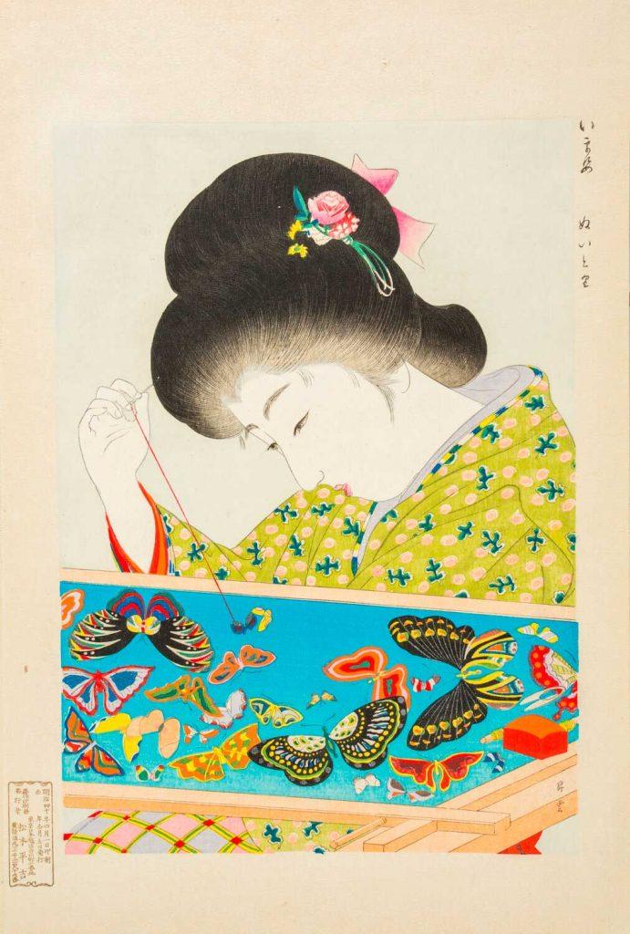 Estampa Nuitori de la serie Modas de hoy en día. Yamamoto Shoūn. Escuela Ukiyo-e. Estampa xilográfica nishiki-e.